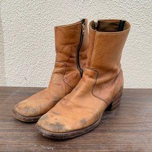 Vintage Tan Zip Up Boots